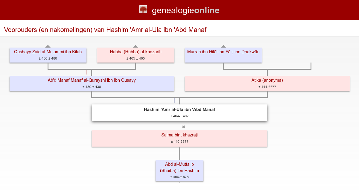 Hashim Amr Al Ula Ibn Abd Manaf Founder Of Banu 464 497 Stamboom Homs Genealogie Online
