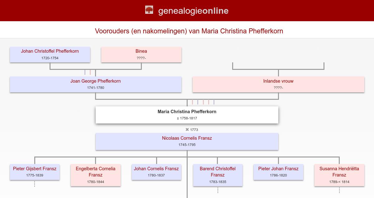 Maria Christina Phefferkorn 1758 1817 Stamboom Van Hutten